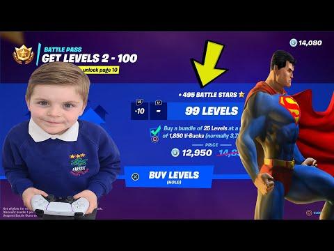Giving My 7 Year Old Kid 13,500 V-Bucks To Unlock The NEW SUPERMAN Fortnite Battlepass Season 7