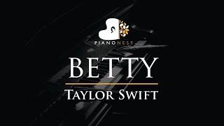 Taylor Swift – betty - Piano Karaoke Instrumental Cover with Lyrics видео
