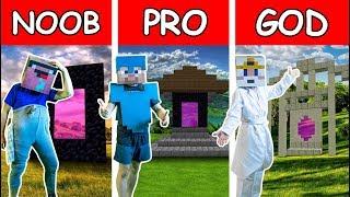 Minecraft NOOB vs PRO vs GOD : NETHER PORTAL CHALLENGE Real Life IRL Animation
