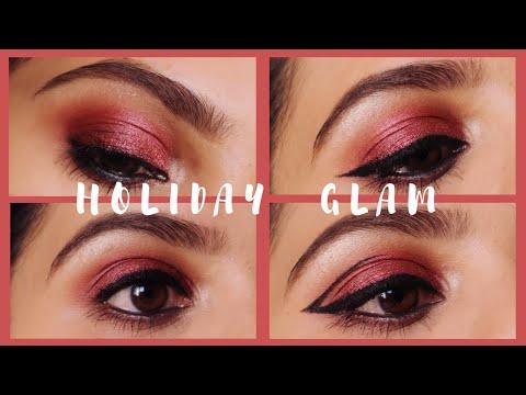 Holiday Glam Eye Makeup I Cranberry Smokey Eyes with 4 Eyeliner Looks I Shimmers and Polishes