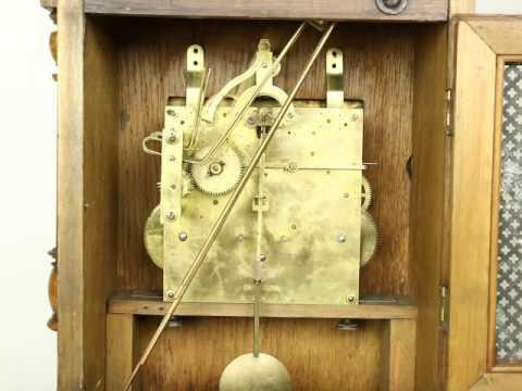 Kienzle Signed German 1900 Antique Carved Oak Clock, Westminster Chime U-24334