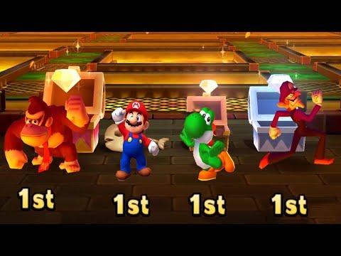 Mario Party Star Rush MiniGames #5 - Donkey Kong Vs Mario Vs Yoshi Vs Waluigi (Master Cpu)