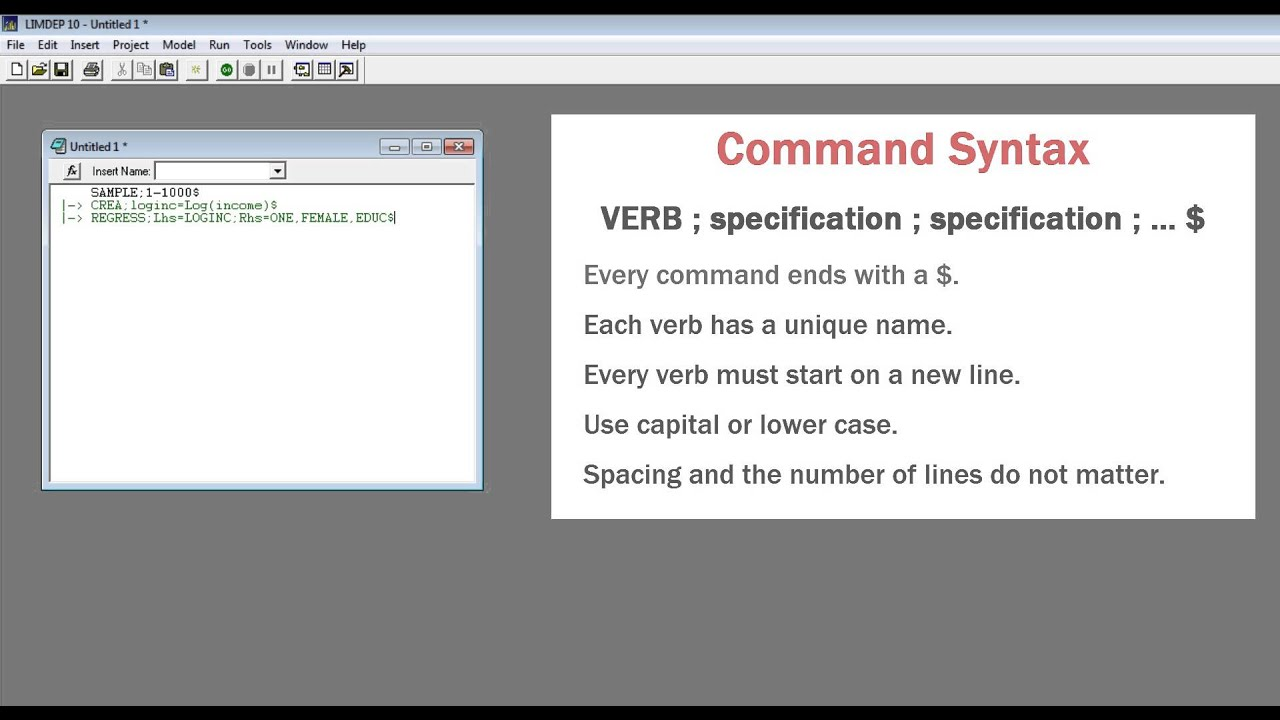 command basics in limdep and nlogit youtube rh youtube com