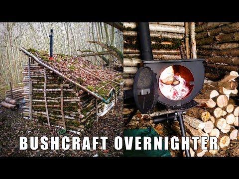 Winter Bushcraft Overnighter - Flint \u0026 Steel, Spit Roast, Saw Horse