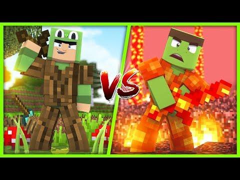 Minecraft - LAVA VS WOOD ARMOUR CHALLENGE!