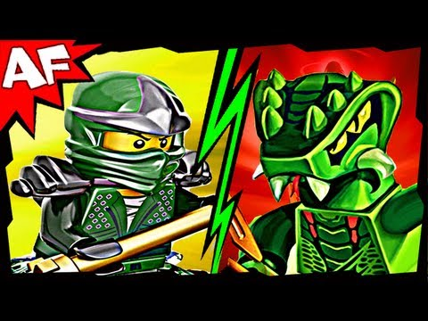 GREEN NINJA vs LIZARU 9574 9557 Lego Ninjago Spinjitzu Battle & Stop Motion Set Review