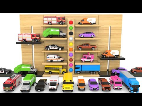 Learn Colors with Multi-Level Parking Toy Street Vehicles - Educational Videos - Cars for KIDS