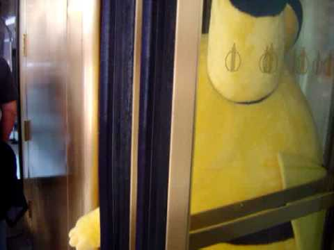 Pikachu struggles through the door