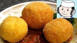 ライスコロッケ・ミートソース添え♪ (rice Croquette with Meat Sauce♪)