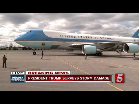 President Trump arrives in Middle Tennessee to survey tornado damage