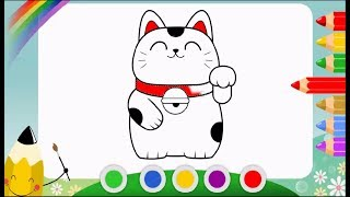 Fortune Cat ( Maneki Neko ) Cartoon Drawing and Coloring Pages For Kids