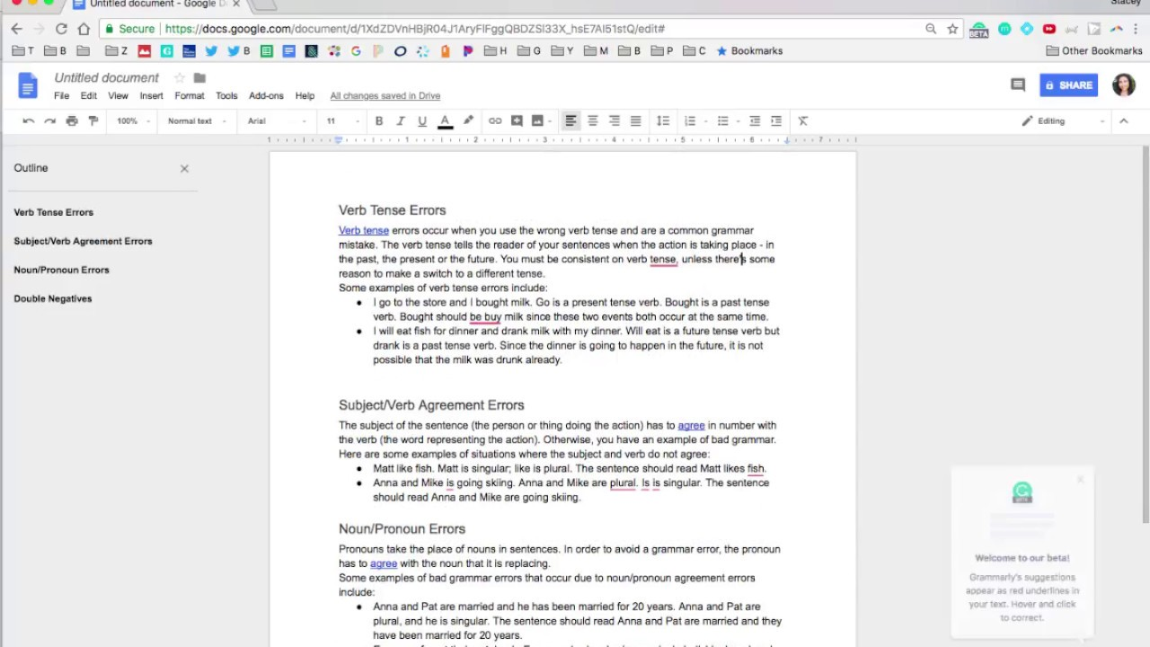 Using Grammarly (Beta) in Google Docs