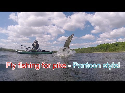 Epic Pike Fly Fishing - Vicious Pike  - Pontoon Style! Get A Pontoon Boat And Love It! Fishing Vlog