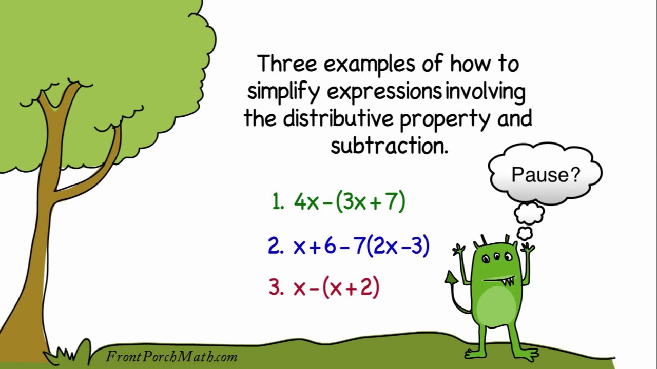Distributive Property And Subtraction Examples Youtube
