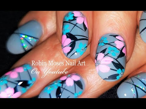 Pastel Flowers on Gray Polish Nails | DIY Amazing Nail Art Design Tutorial