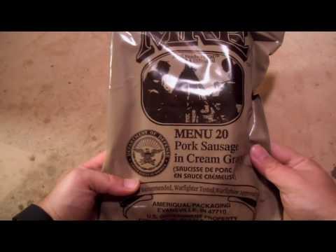 MRE Review - Menu No. 20 - Pork Sausage in Cream Gravy