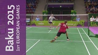 Marathon 88-stroke exchange between Estonia and Spain | Badminton | Baku 2015 European Games