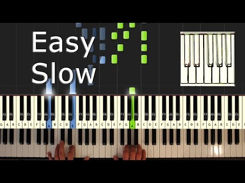 Rudolph The Red Nosed Reindeer - piano tutorial easy SLOW - how to play (synthesia) - Christmas