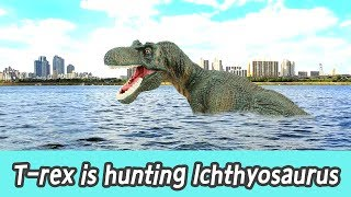[EN] #74 T-rex is hunting lchthyosaurus, kids education, Collecta figureㅣCoCosToy