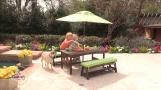 Fun In The Sun Table And Bench Set With Umbrella - Espresso