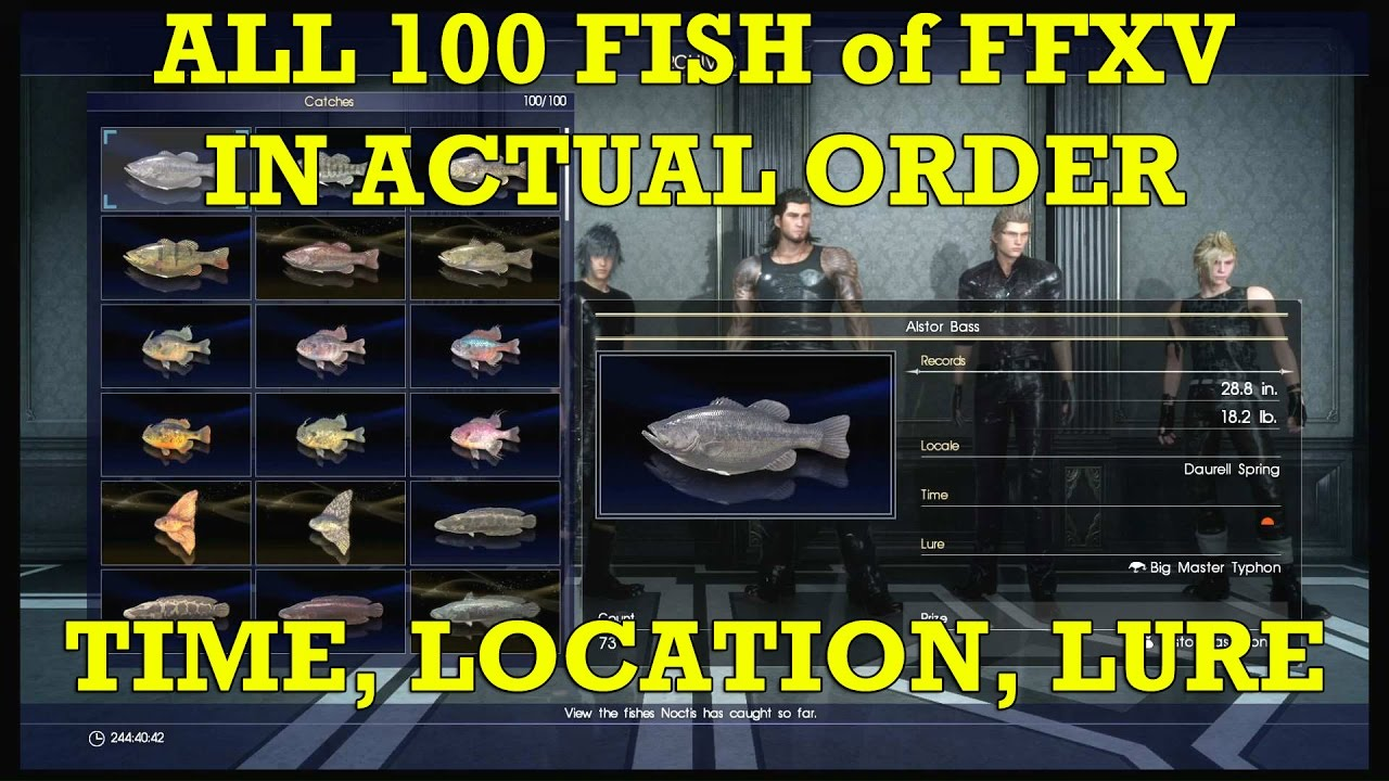 Final Fantasy Xv 15 All 100 Fish Complete List In Order