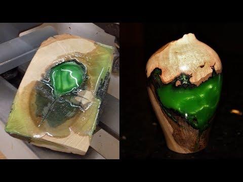 Woodturning - The Emerald Burl Bud Vase