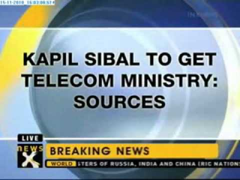 Sibal given charge of Telecom Ministry