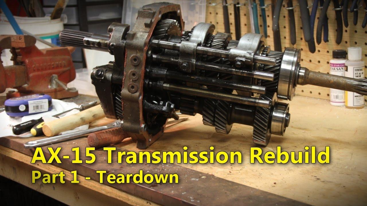 Jeep yj wrangler ax15 transmission parts breakdown & rebuild.