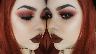dark red smokey eye updated brow routine   makeup tutorial