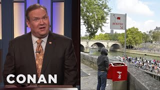 Andy Is Outraged By Paris's Public Urinals  - CONAN on TBS