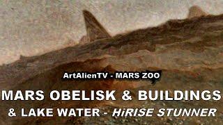 Mars Obelisk / Monolith & Pyramid Buildings By Lake Water. Artalientv - 1080p