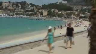 Port Soller tram ride along the beach on Mallorca Spain