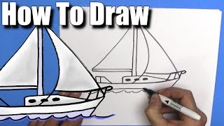 How To Draw a Sailboat- Step By Step -EASY