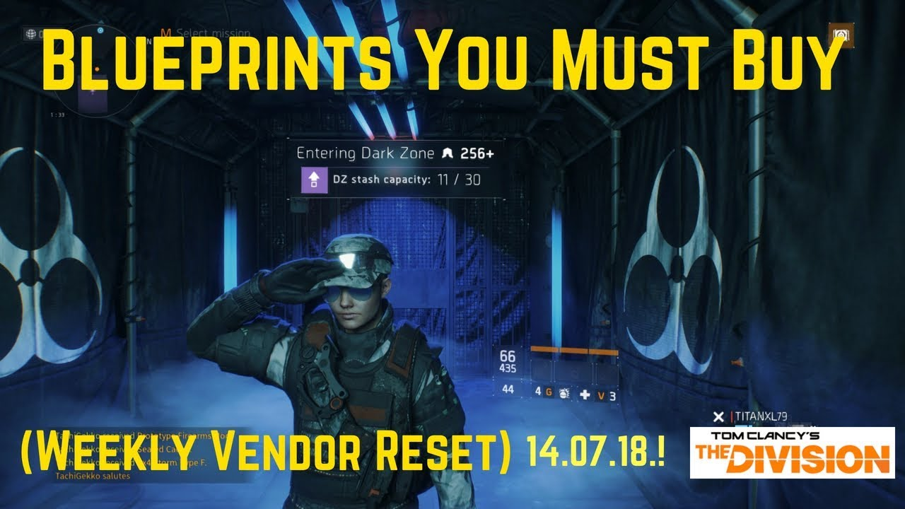 The Division Blueprints You Must Buy (Weekly Vendor Reset) 14 07 18 !