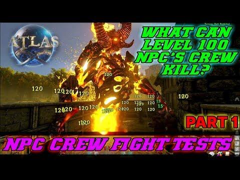 Atlas - LVL 100 NPC'S CREW vs Monsters & Animals FIGHT TEST PART 1