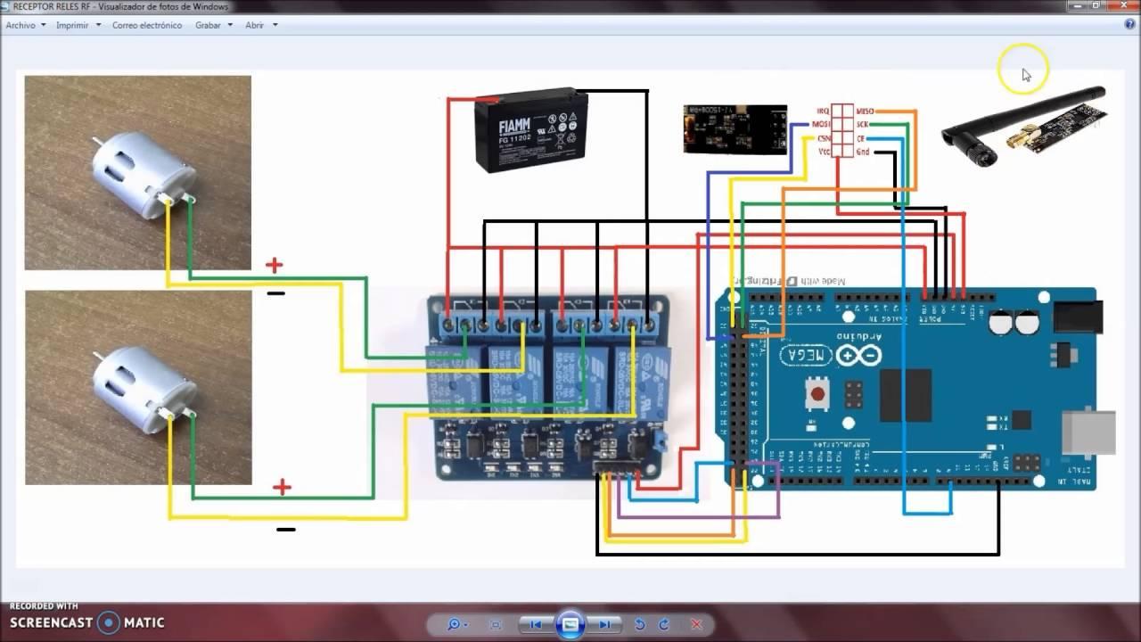 Controlar 2 Leds Y O 2 Motores Por Radiofrecuencia Con Modulo 4 Reles Joystick Y Arduino