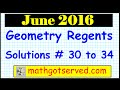 June 2016 Geometry  30 to 34 NYS Common Core Regents Examination solutions worked out 30 to 34