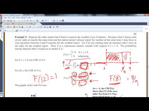 Section 6.1: Continuous Random Variables - Cumulative Distribution Functions (CDF)
