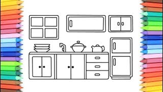 How To Draw A Kitchen for Kids 💙💜💖 Kitchen Drawing and Coloring Pages for Kids