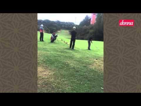 Fãs registram Adam Levine jogando golfe em Porto Alegre