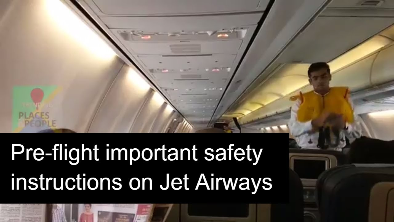 pre flight safety instructions by air hostess and steward in jet rh youtube com