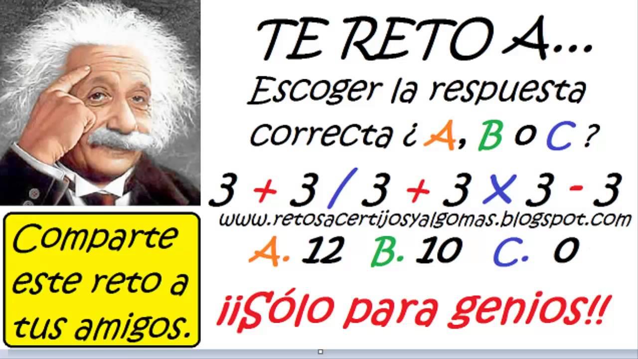 Retos Mentales Ejercicio Matematico 10 Youtube
