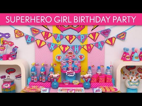 Retro Superhero Girl Birthday Party Ideas // Retro Superhero Girl - B79