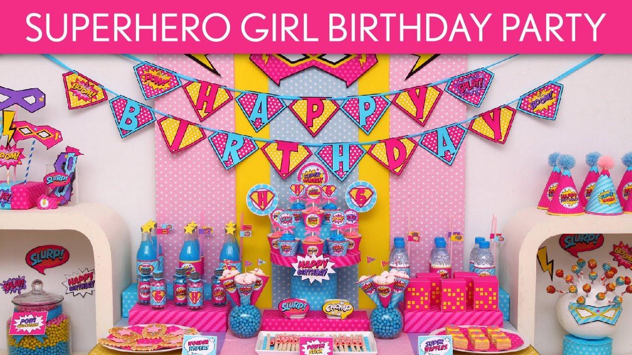 Retro Superhero Girl Birthday Party Ideas
