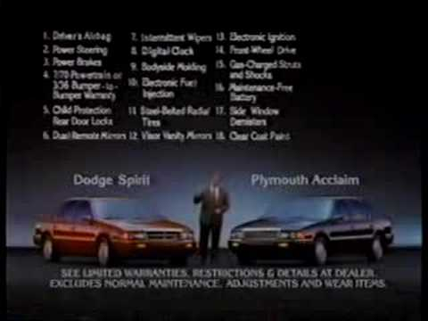 1991 Plymouth Acclaim & Dodge Spirit Commercial