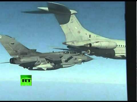 Video of RAF Tornado jets mid-air refueling en route to Libya