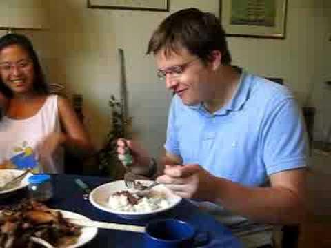 German Boy Tastes Filipino Pork Adobo
