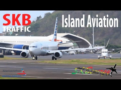 Afternoon Rush !!! BA 777-200, AA 737-800, SA Saab 340, M&N Shorts 360,...@ St. Kitts Airport