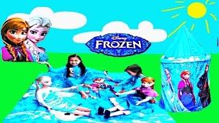 Disney Frozen Movie Videos 2016 Picnic Play Mat Surprise Toys + Shopkins Surprise Eggs