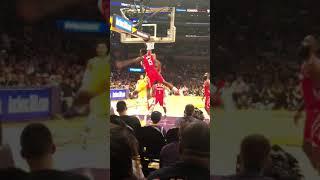 Lebron back door pass to Hart Rockets vs Lakers